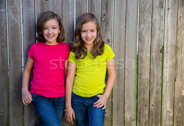 Twin sisters with different hairstyle posing on wood fence Stock photo © lunamarina