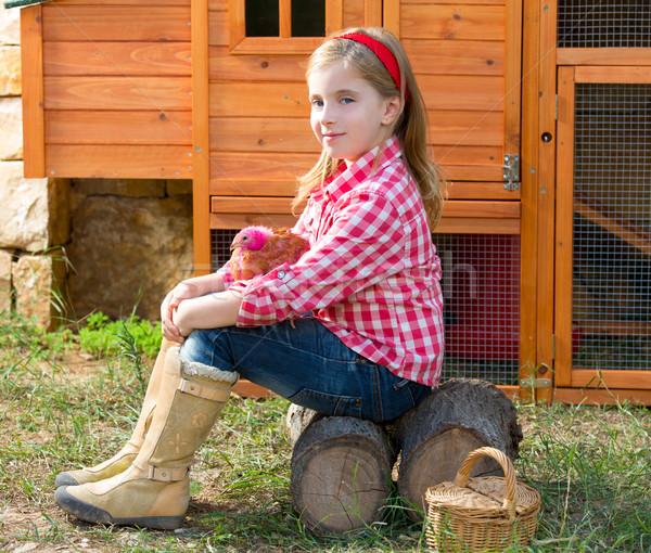 breeder hens kid girl rancher farmer with chicks in chicken coop Stock photo © lunamarina