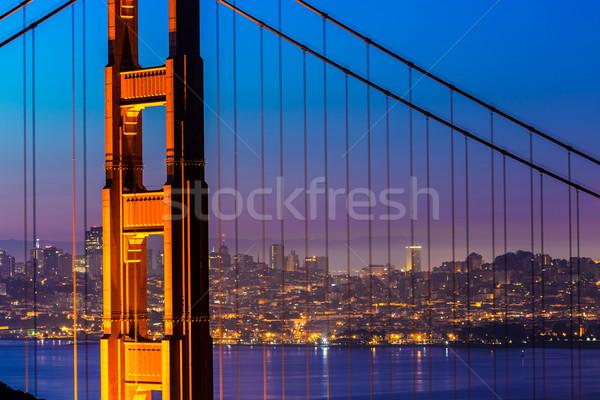 Золотые Ворота Сан-Франциско закат кабелей мнение Калифорния Сток-фото © lunamarina