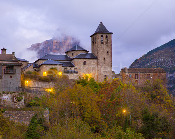 Torla Church in Pyrenees Ordesa Valley at Aragon Huesca Spain Stock photo © lunamarina