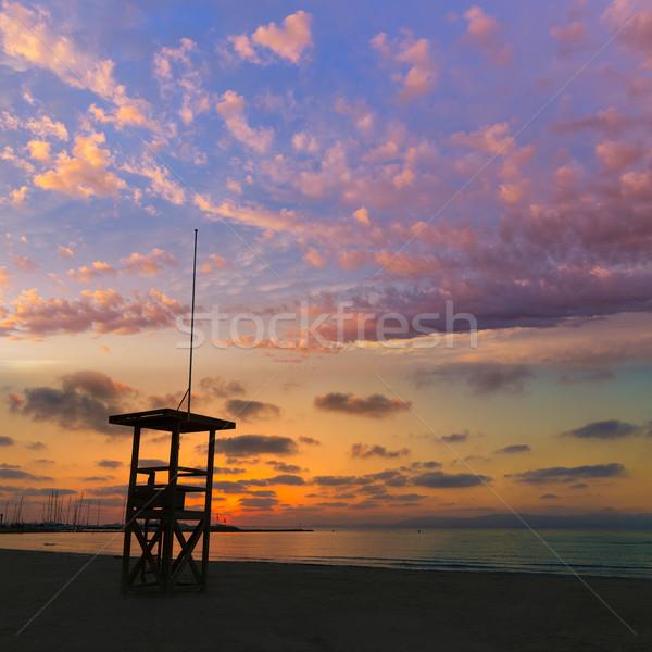 Playa puesta de sol mallorca España agua Foto stock © lunamarina
