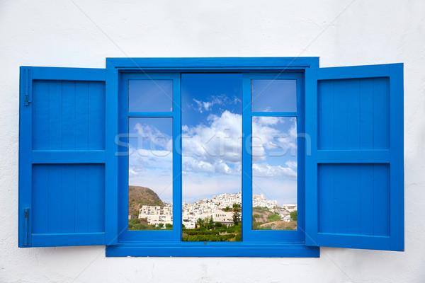Almeria view from blue window of Mojacar Stock photo © lunamarina