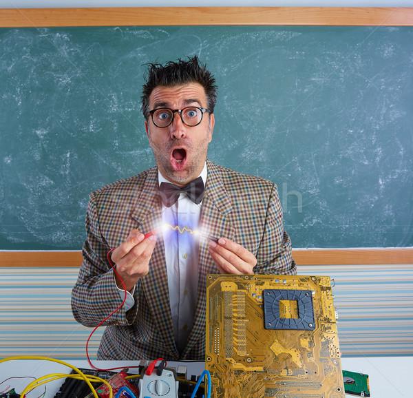 Nerd electronics technician short circuit lightning Stock photo © lunamarina