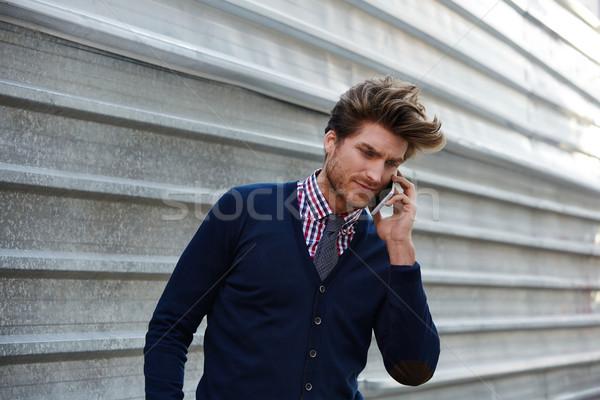 Stok fotoğraf: Genç · işadamı · konuşma · telefon · sokak