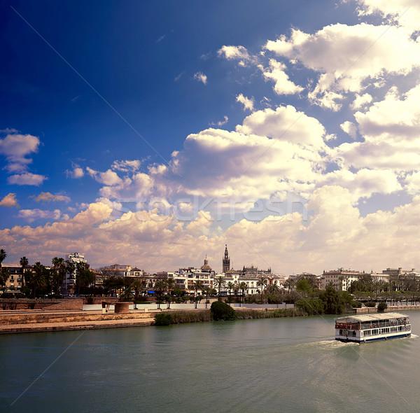 Linha do horizonte canal rio edifício cidade pôr do sol Foto stock © lunamarina