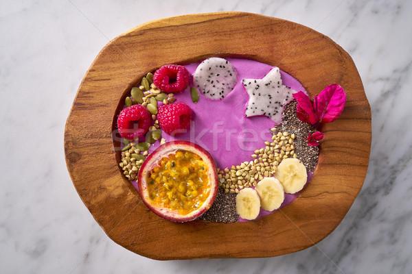 Puchar pochlebca pasja owoców maliny nasion Zdjęcia stock © lunamarina