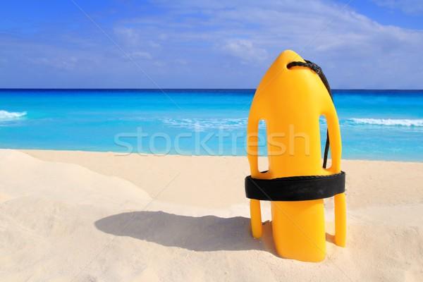 Redding boei Geel tropisch strand caribbean zee Stockfoto © lunamarina