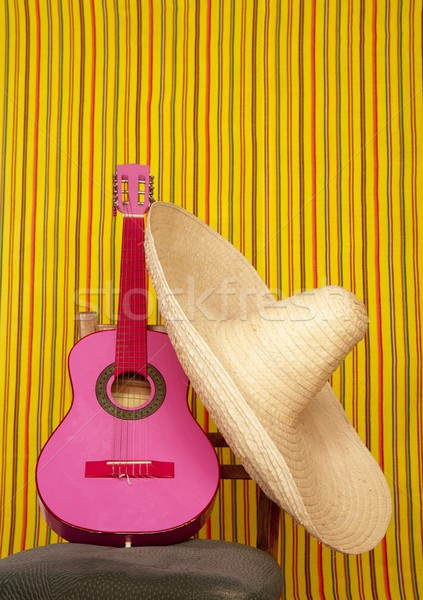 Mexican chapeau rose guitare rayé design Photo stock © lunamarina
