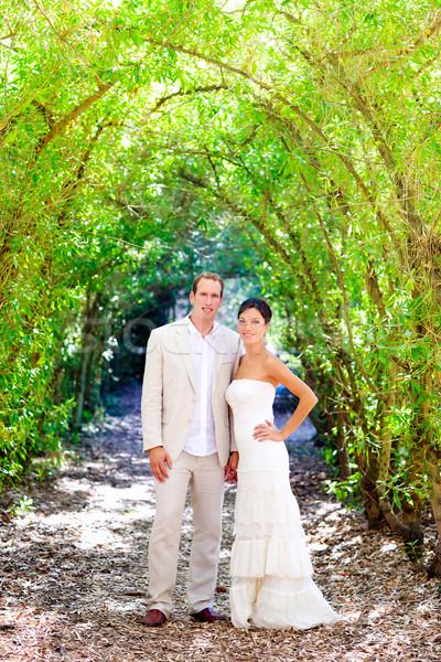 Menyasszony friss házasok pár szeretet szabadtér zöld Stock fotó © lunamarina