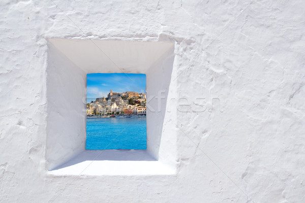 Ibiza mediterranean white wall window Stock photo © lunamarina