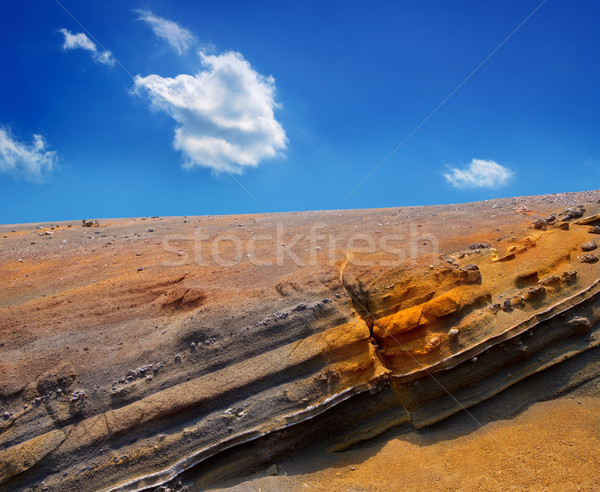 Stock fotó: Park · vulkáni · kövek · kék · ég · Kanári-szigetek · égbolt