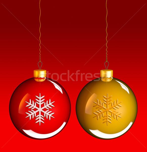 Christmas baubles balls in golden red Stock photo © lunamarina