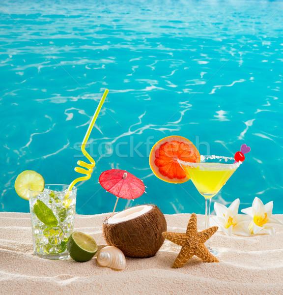 Caribbean tropisch strand cocktails mojito tropische zand Stockfoto © lunamarina