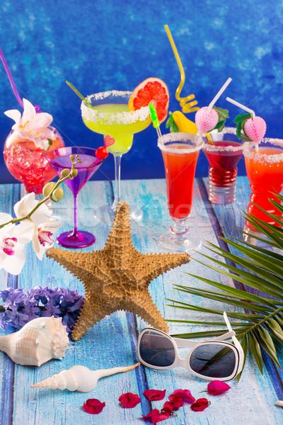 Stockfoto: Kleurrijk · gemengd · cocktails · tropische · Blauw · hout
