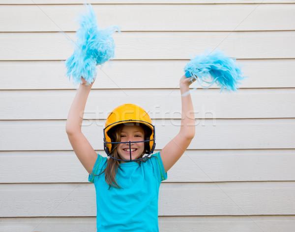 baseball cheerleading pom poms girl happy smiling Stock photo © lunamarina