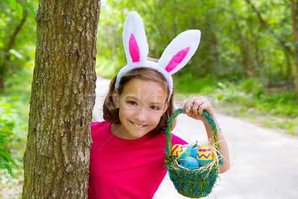 Páscoa menina ovos cesta engraçado coelho Foto stock © lunamarina