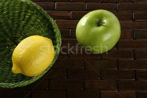 Lemon citric fruit and Green apple Stock photo © lunamarina