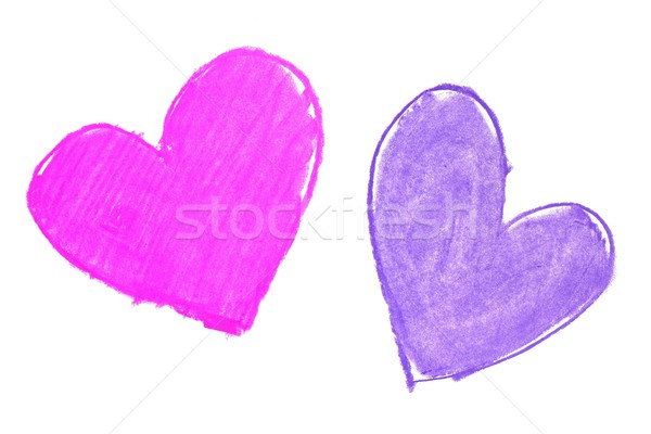 Colorful hand painted heart shapes draw Stock photo © lunamarina