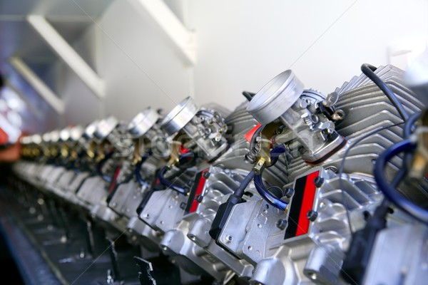 Engines from kart cars in row line for been inspected Stock photo © lunamarina