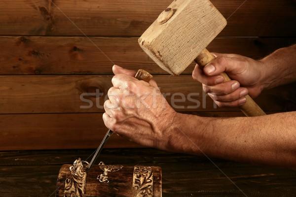 gouge wood chisel carpenter tool hand hammer Stock photo © lunamarina
