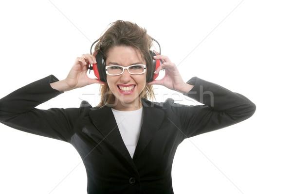 Femme d'affaires bruit sécurité casque femme main Photo stock © lunamarina