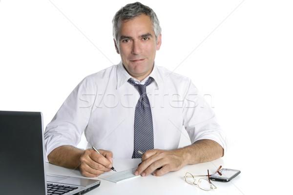 Foto stock: Empresário · senior · assinatura · banco · verificar · feliz
