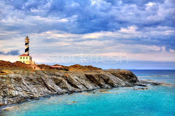 Cap de Favaritx sunset lighthouse cape in Mahon Stock photo © lunamarina