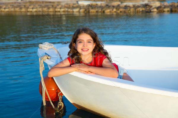 Denizci çocuk kız mutlu gülen Stok fotoğraf © lunamarina