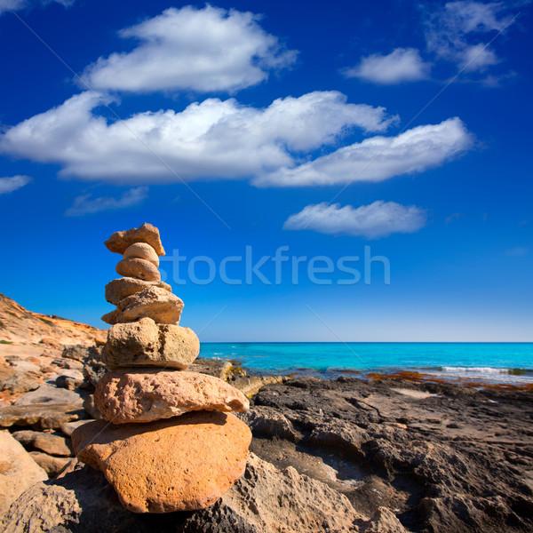 Formentera Mitjorn  beach with turquoise Mediterranean Stock photo © lunamarina