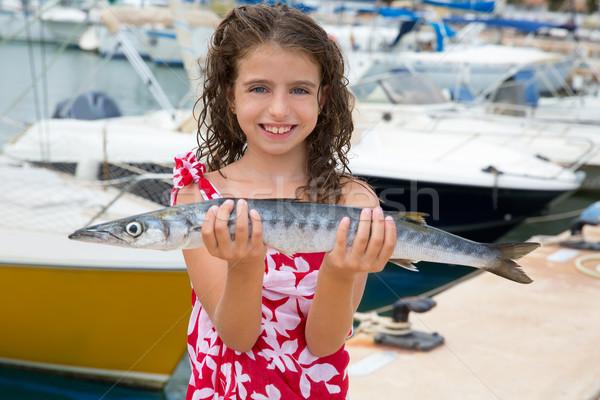 Boldog gyerek hal zsákmány mediterrán marina Stock fotó © lunamarina