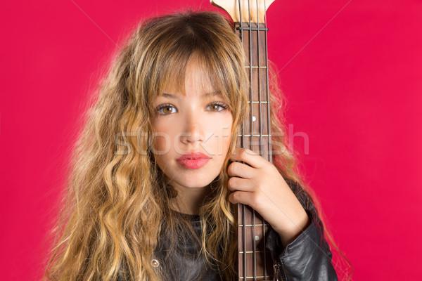 Szőke kő zsemle lány basszus gitár Stock fotó © lunamarina