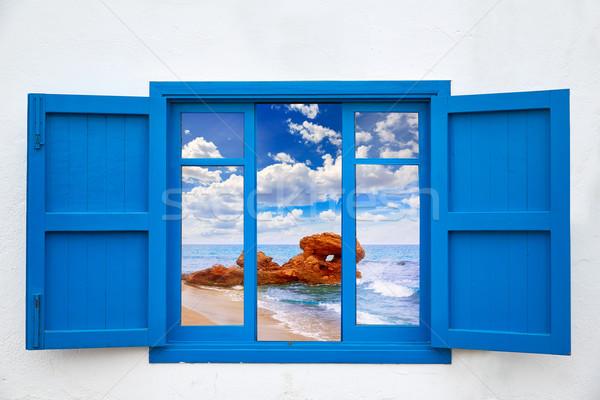 Almeria view from blue window of Mojacar beach Stock photo © lunamarina