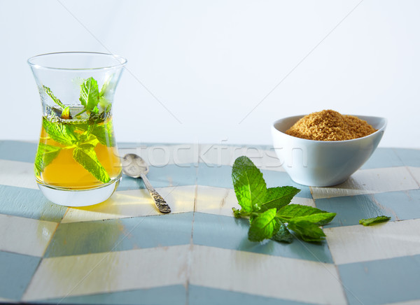 green tea with mint Moroccan style Stock photo © lunamarina