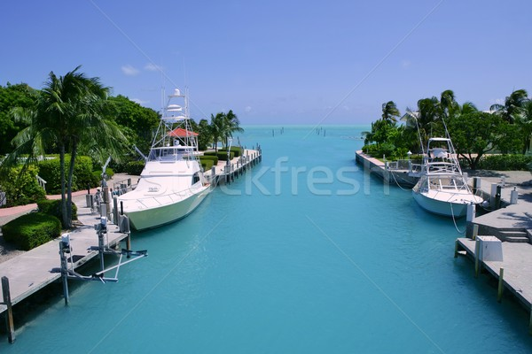Florida Keys fishing boats in turquoise waterway Stock photo © lunamarina