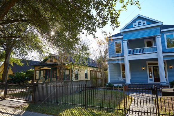 Houston stílus házak Texas város utca Stock fotó © lunamarina