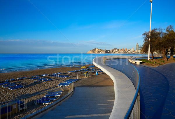 Stok fotoğraf: Plaj · İspanya · akdeniz · gökyüzü · su · şehir