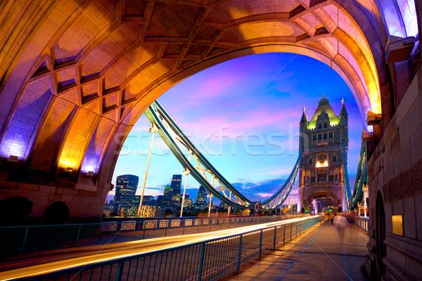 London Tower Bridge sunset on Thames river Stock photo © lunamarina