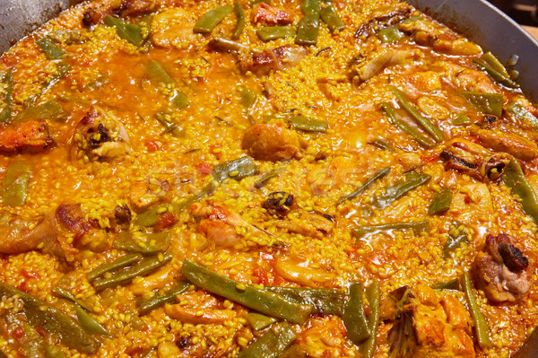 Paella from Spain rice recipe from Valencia Stock photo © lunamarina