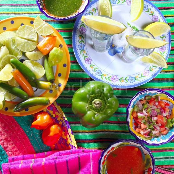 Tequila sel citron mexican chili poivre Photo stock © lunamarina