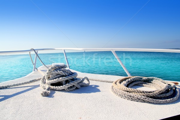 Tekne beyaz yay tropikal caribbean deniz Stok fotoğraf © lunamarina