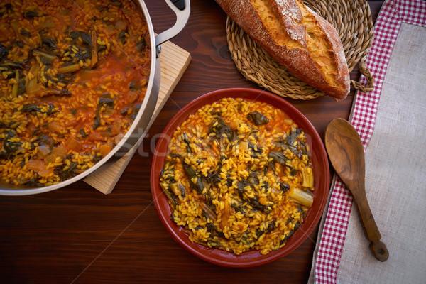 Rizs recept Valencia Spanyolország mediterrán háttér Stock fotó © lunamarina