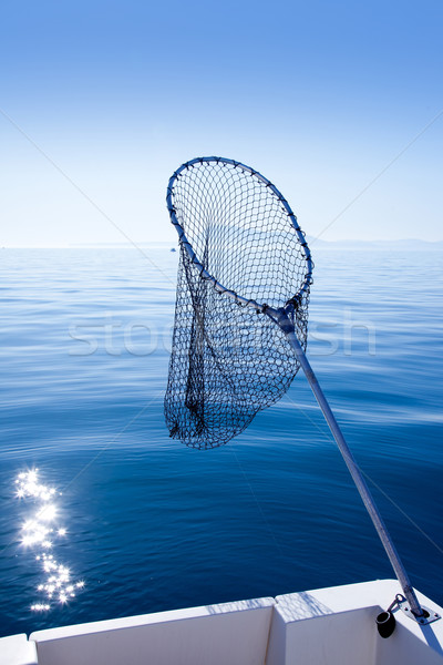 fishing landing net in blue sea Stock photo © lunamarina