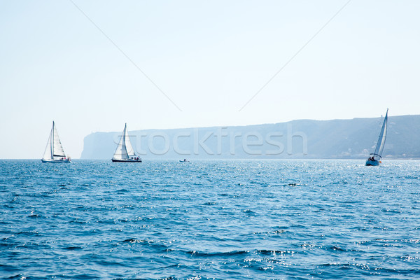 boats sail regatta with sailboats in mediterranean Stock photo © lunamarina
