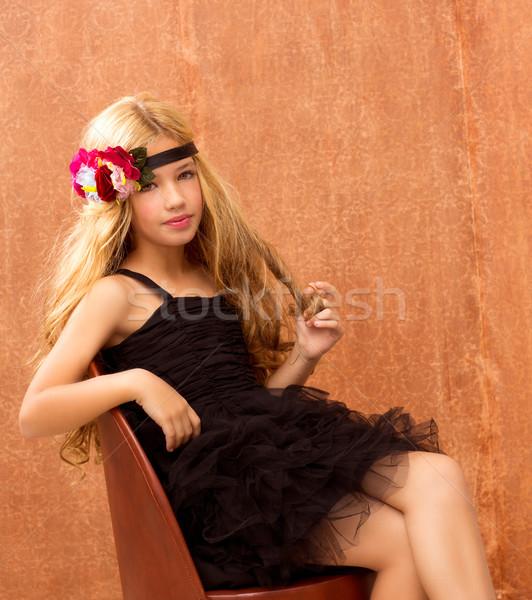 Szőke gyerek lány ül retro klasszikus Stock fotó © lunamarina