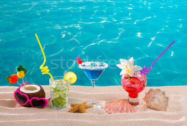 Photo stock: Plage · tropicales · cocktails · sable · blanc · mojito · bleu