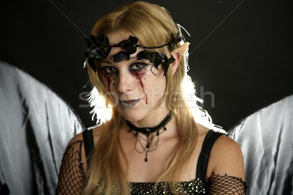 Woman dress for halloween Stock photo © lunamarina