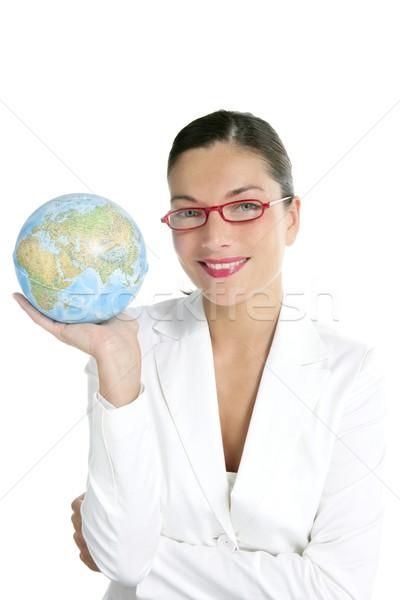 синий глобальный Мир карта деловая женщина рук сфере Сток-фото © lunamarina
