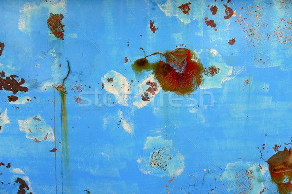Aged grunge boat iron rusty blue hull Stock photo © lunamarina