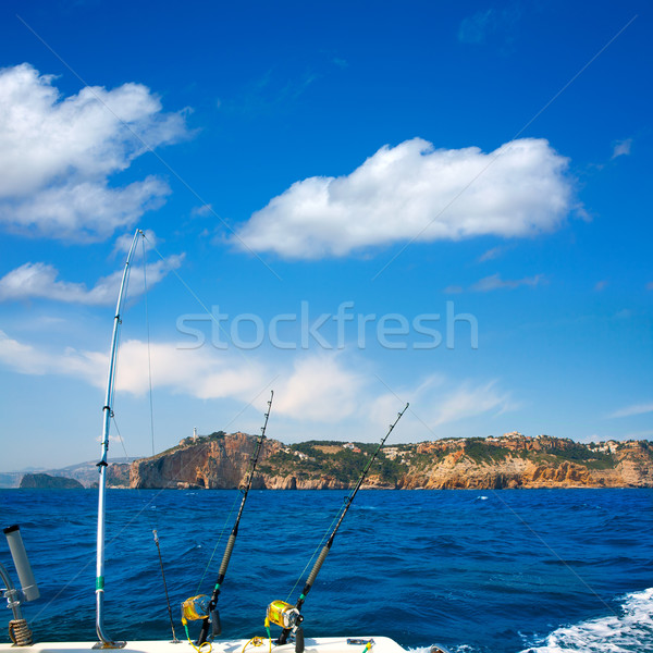 Fishing trolling boat rods in Mediterranean Cabo Nao Cape Stock photo © lunamarina