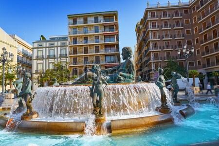 Valencia Neptuno fountain in Plaza de la virgen square Spain Stock photo © lunamarina